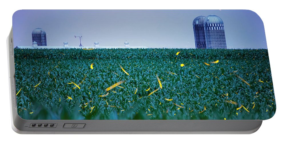Fireflies Portable Battery Charger featuring the photograph 1306 - Fireflies - Lightning Bugs Over Corn by Seth Dochter