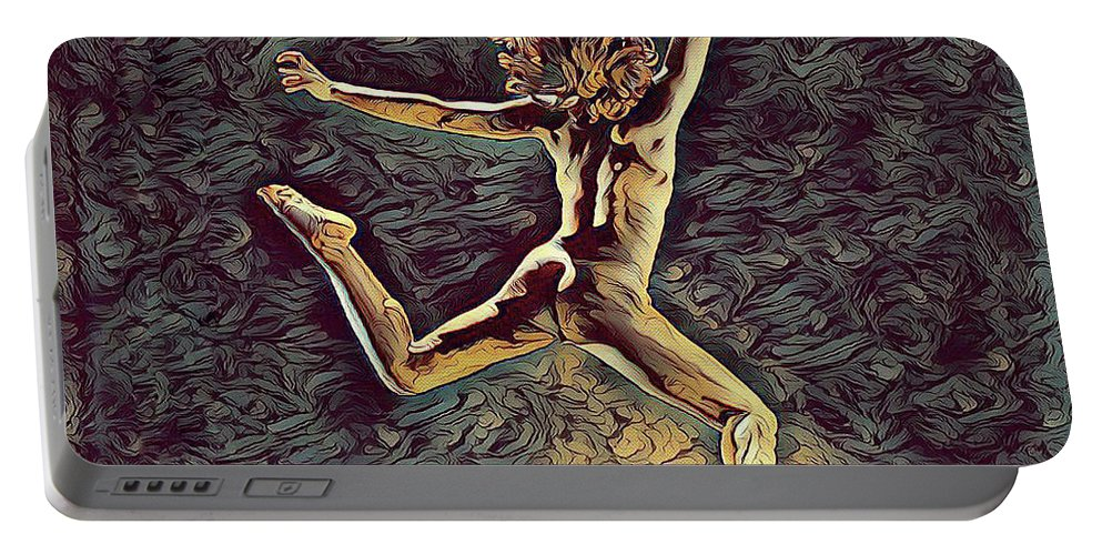 Leaping Portable Battery Charger featuring the digital art 1307s-dancer Leap Fit Black Woman Bare And Free by Chris Maher