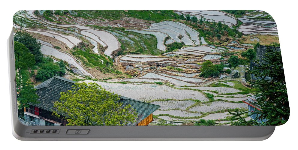Terrace Portable Battery Charger featuring the photograph Longji Terraced Fields Scenery by Carl Ning