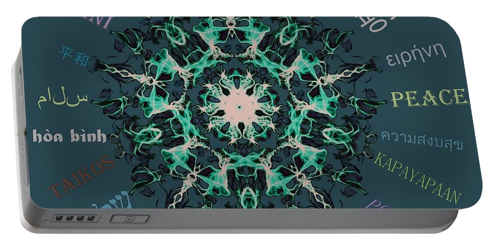 Peace Portable Battery Charger featuring the digital art Peace All Over The World by Sandrine Kespi