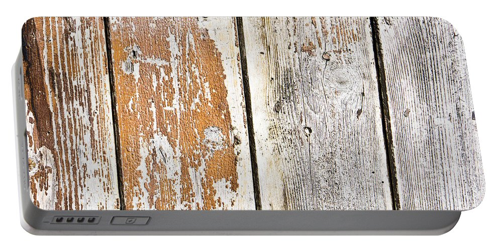Abstract Portable Battery Charger featuring the photograph Weathered Wood by Tom Gowanlock