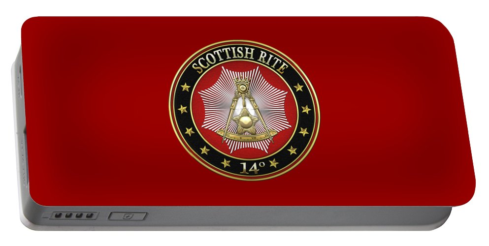 'scottish Rite' Collection By Serge Averbukh Portable Battery Charger featuring the digital art 14th Degree - Perfect Elu Jewel On Red Leather by Serge Averbukh