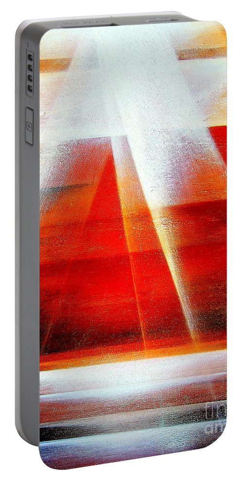 Hope.light.ocean.sunrise.sun.sky.landscape.spiritual.peace.impressionism.contemporary.energy.majestic.abstract Portable Battery Charger featuring the painting Hope by Kumiko Mayer