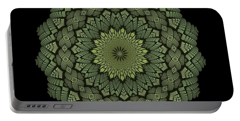 Kaleidoscope Portable Battery Charger featuring the digital art 15 Symmetry Celery Bulb by Doug Morgan