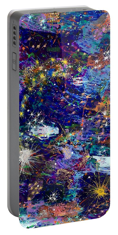Acrylic Portable Battery Charger featuring the painting 16-1 Blue Space by Patrick OLeary