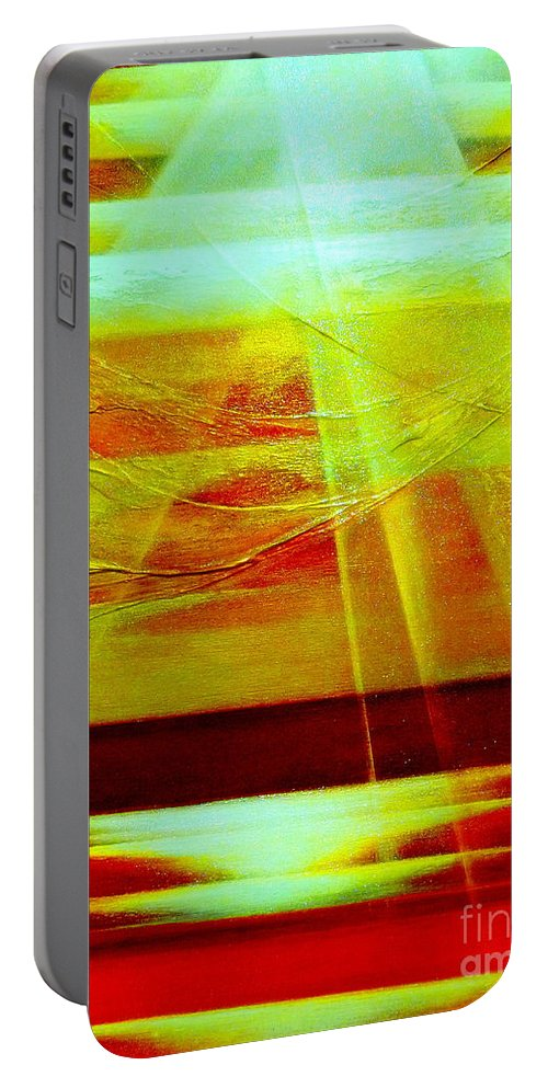 Light.sky.sunrise.ocean.hope Majestic.landscape Portable Battery Charger featuring the painting Hope by Kumiko Mayer