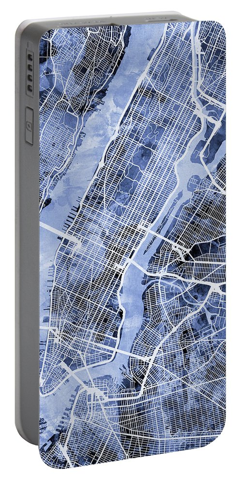 New York Portable Battery Charger featuring the digital art New York City Street Map by Michael Tompsett