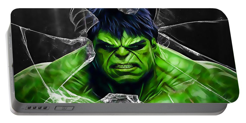 Avengers Portable Battery Charger featuring the mixed media The Incredible Hulk Collection by Marvin Blaine