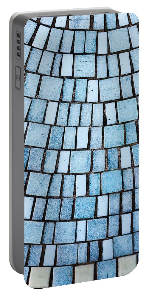 Aqua Portable Battery Charger featuring the photograph Blue Tiles by Tom Gowanlock