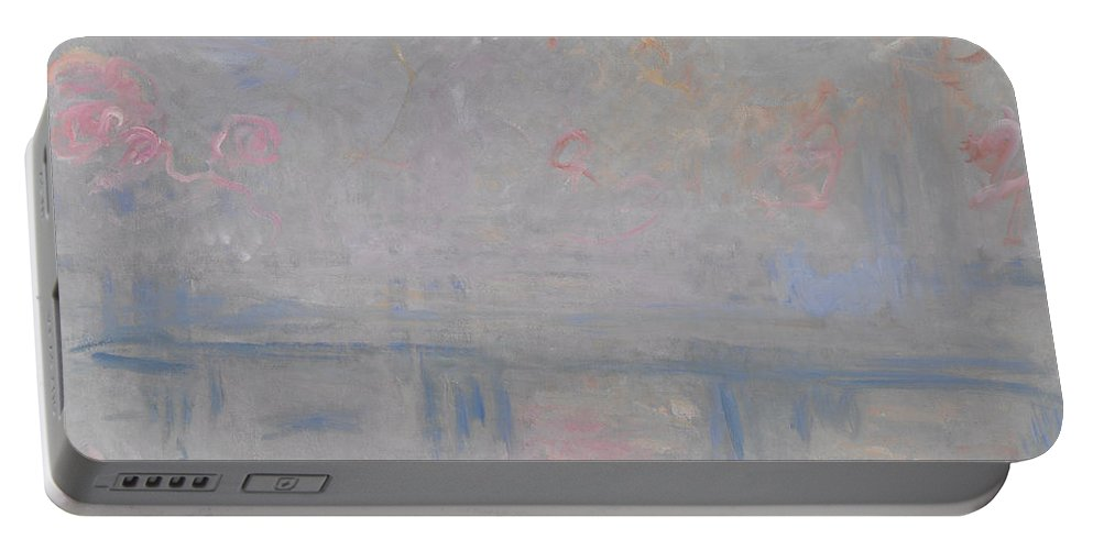 Claude Monet Portable Battery Charger featuring the painting Charing Cross Bridge by Claude Monet