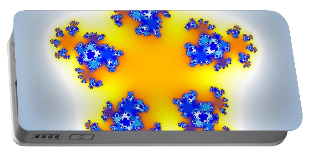 Abstract Portable Battery Charger featuring the digital art Fractal Floral Pattern by Miroslav Nemecek