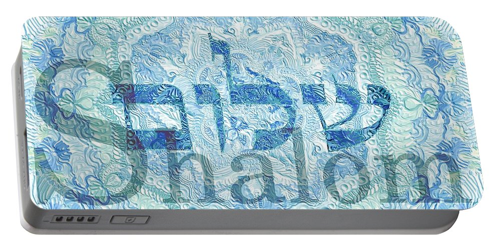 Blessing Portable Battery Charger featuring the painting Shalom, Peace by Sandrine Kespi