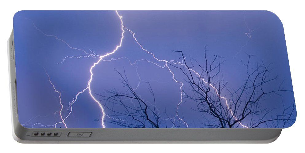 Lightning Portable Battery Charger featuring the photograph 17th Street Lightning Strike Fine Art Photo by James BO Insogna