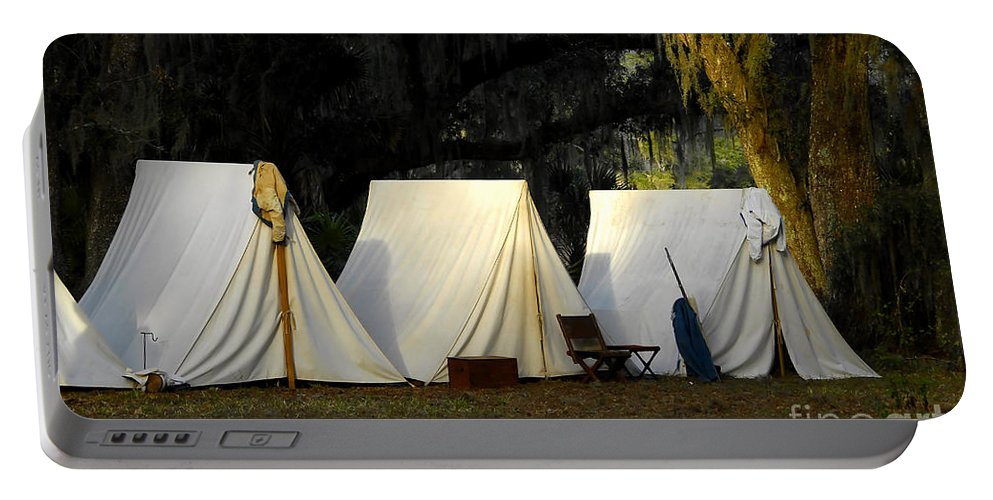 Army Tents Portable Battery Charger featuring the photograph 1800s Army Tents by David Lee Thompson