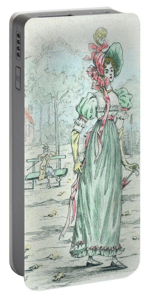 1801 Portable Battery Charger featuring the drawing 1801 Paris France Fashion Drawing by Movie Poster Prints