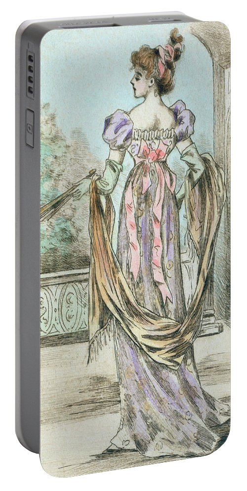 1803 Portable Battery Charger featuring the drawing 1803 Paris France Fashion Drawing by Movie Poster Prints