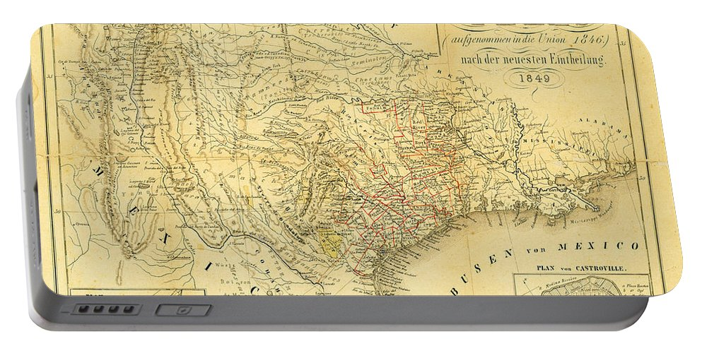1849 Texas Map Portable Battery Charger featuring the photograph 1849 Texas Map by Bill Cannon