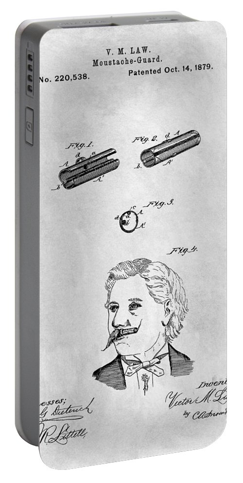 1879 Mustache Guard Patent Portable Battery Charger featuring the drawing 1879 Mustache Guard Patent by Dan Sproul