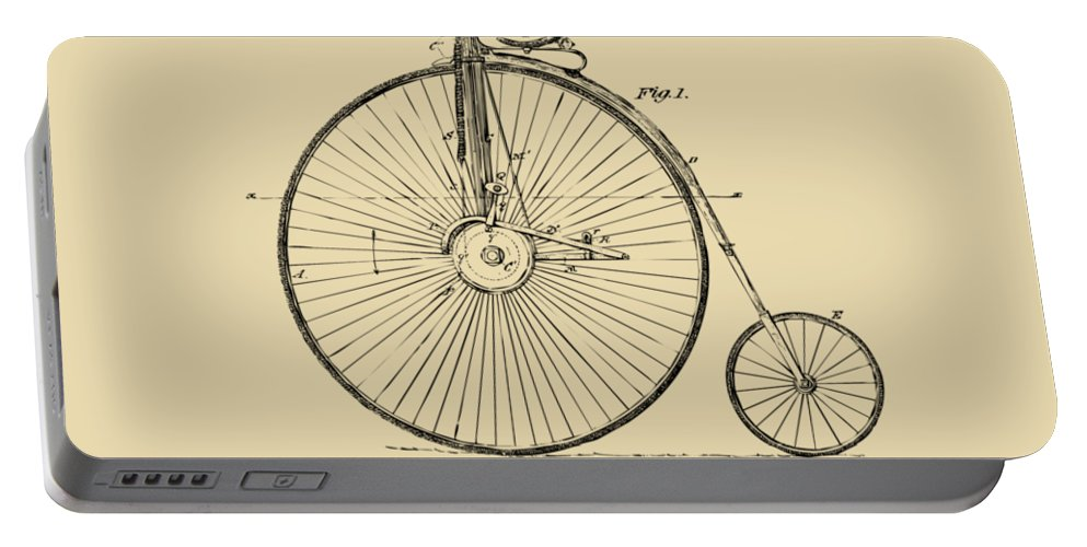 Velocipede Portable Battery Charger featuring the digital art 1881 Velocipede Bicycle Patent Artwork - Vintage by Nikki Marie Smith
