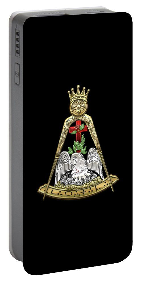 'ancient Brotherhoods' Collection By Serge Averbukh Portable Battery Charger featuring the digital art 18th Degree Mason - Knight Rose Croix Masonic Jewel by Serge Averbukh