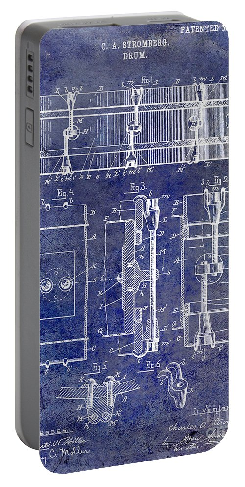 Drum Portable Battery Charger featuring the photograph 1904 Drum Patent Blue by Jon Neidert
