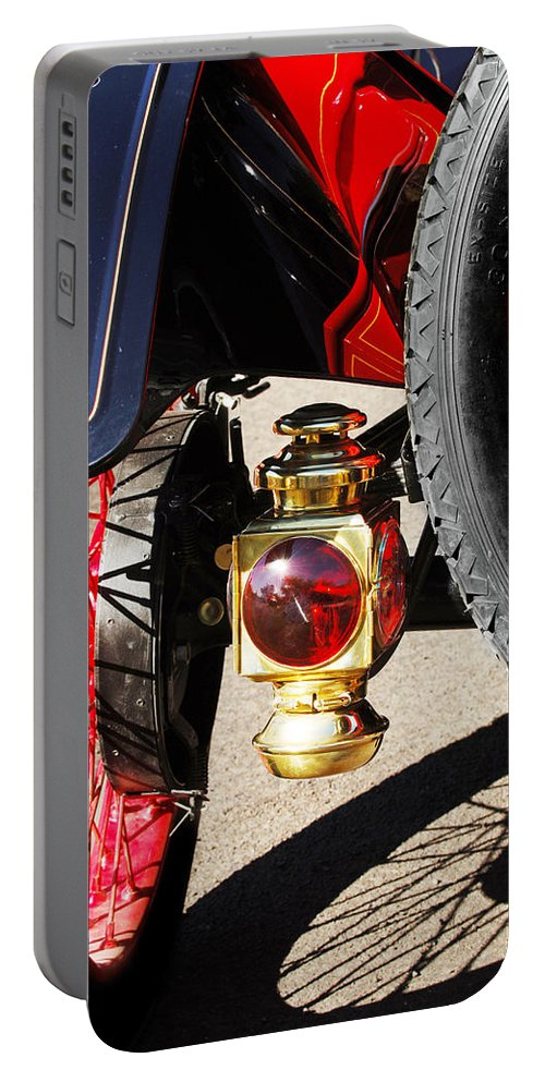 Horseless Carriage Portable Battery Charger featuring the photograph 1911 Ford Model T Torpedo Lamp by Jill Reger