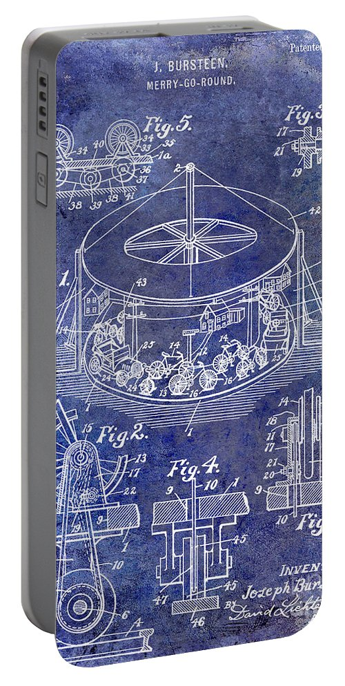 Merry Go Round Portable Battery Charger featuring the photograph 1916 Merry Go Round Patent Blue by Jon Neidert