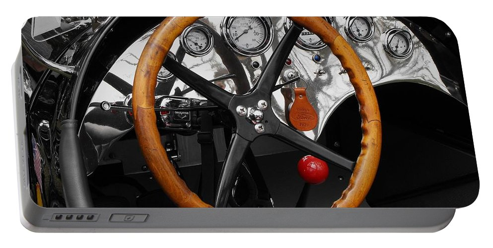 Ford Racer Portable Battery Charger featuring the photograph 1920-1930 Ford Racer Dash by Neil Zimmerman