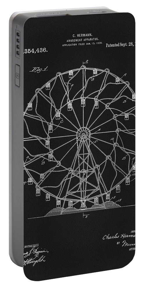 1920 Ferris Wheel Patent Portable Battery Charger featuring the mixed media 1920 Ferris Wheel 1920 by Dan Sproul