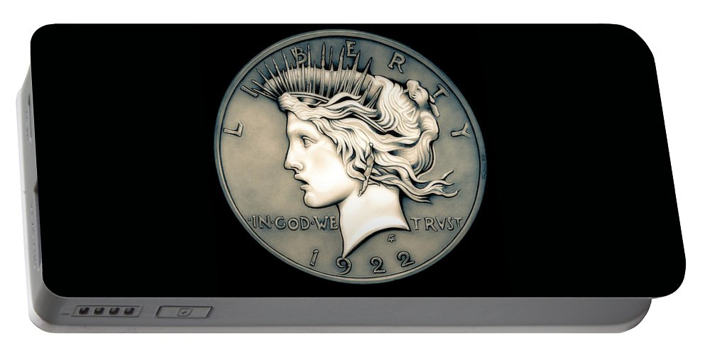 Coin Portable Battery Charger featuring the drawing 1922 Ghost Peace Dollar by Fred Larucci