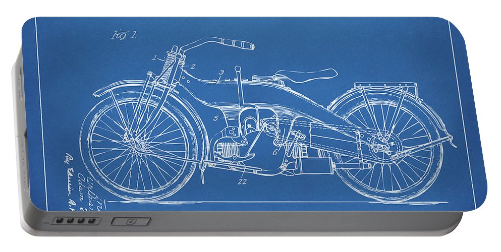 Harley-davidson Portable Battery Charger featuring the digital art 1924 Harley Motorcycle Patent Artwork Blueprint 1924 by Nikki Marie Smith