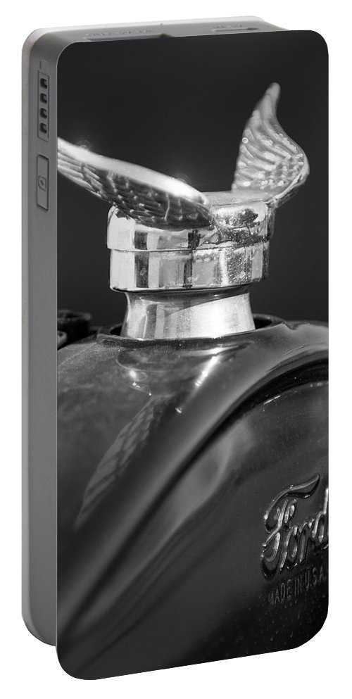 1925 Ford Model T Portable Battery Charger featuring the photograph 1925 Ford Model T Hood Ornament 2 by Jill Reger