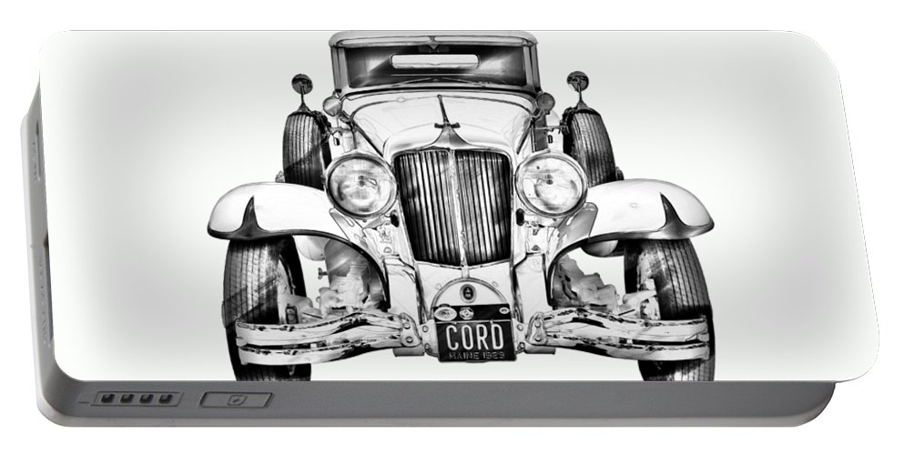 Vintage Portable Battery Charger featuring the photograph 1929 Cord 6-29 Cabriolet Antique Car Illustration by Keith Webber Jr