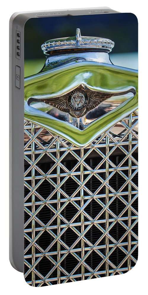 1930 Dodge Grille Emblem Portable Battery Charger featuring the photograph 1930 Db Dodge Brothers Hood Ornament And Grille by Jill Reger