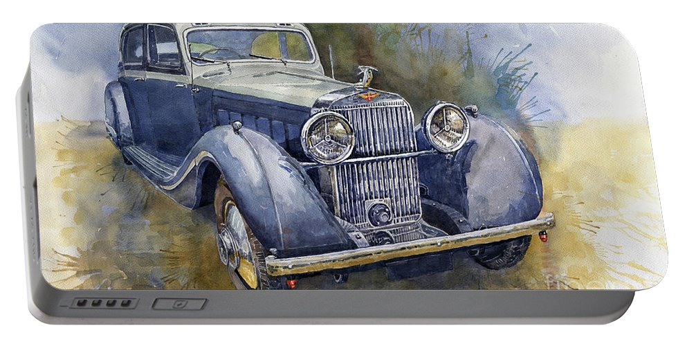 Shevchukart Portable Battery Charger featuring the painting 1938 Hispano Suiza J12 by Yuriy Shevchuk