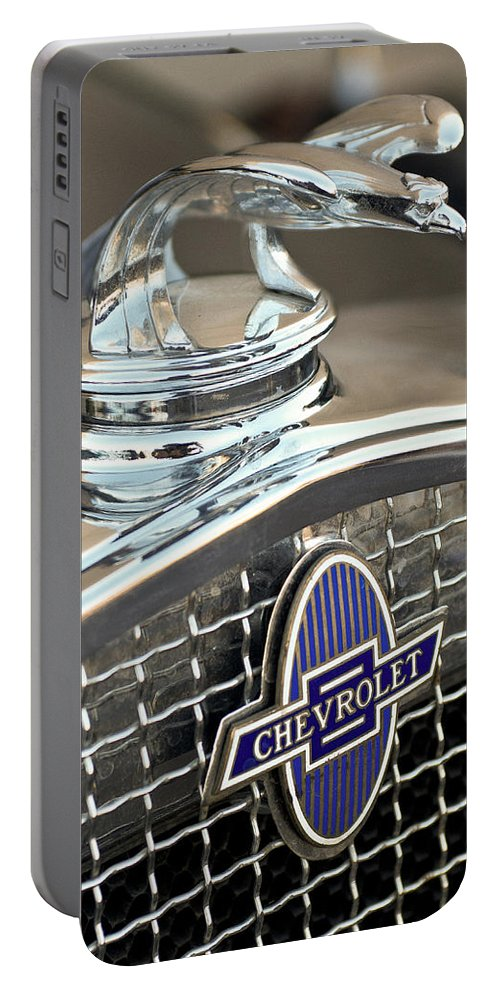 1931 Chevrolet Portable Battery Charger featuring the photograph 1931 Chevrolet Hood Ornament 2 by Jill Reger
