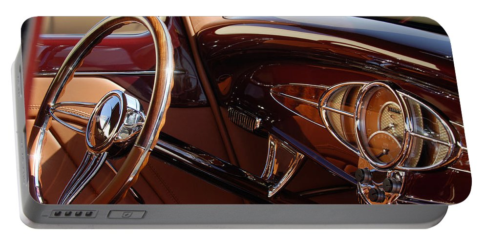 1932 Ford Portable Battery Charger featuring the photograph 1932 Ford Hot Rod Steering Wheel 3 by Jill Reger