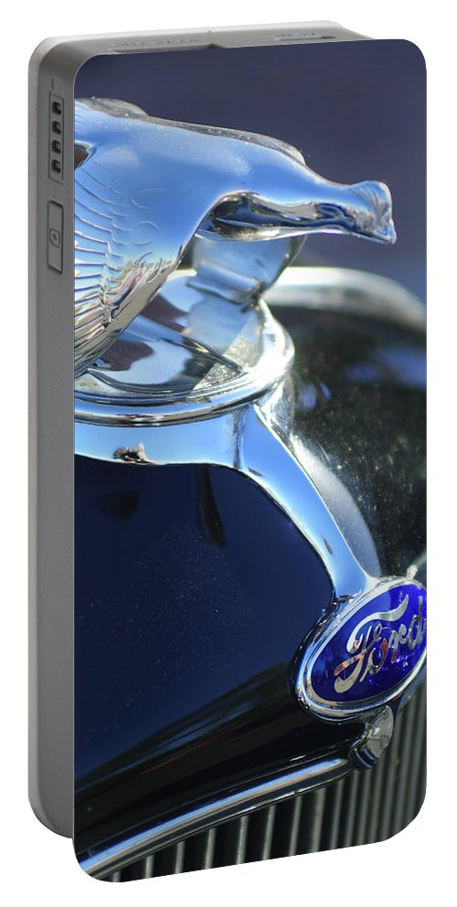 1932 Ford Roadster Portable Battery Charger featuring the photograph 1932 Ford Quail Hood Ornament by Jill Reger