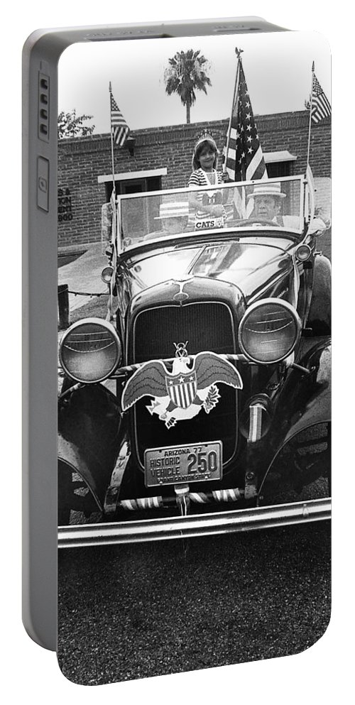 1932 Ford V8 July 4th Parade Tucson Arizona 1986 Portable Battery Charger featuring the photograph 1932 Ford V8 July 4th Parade Tucson Arizona 1986 by David Lee Guss
