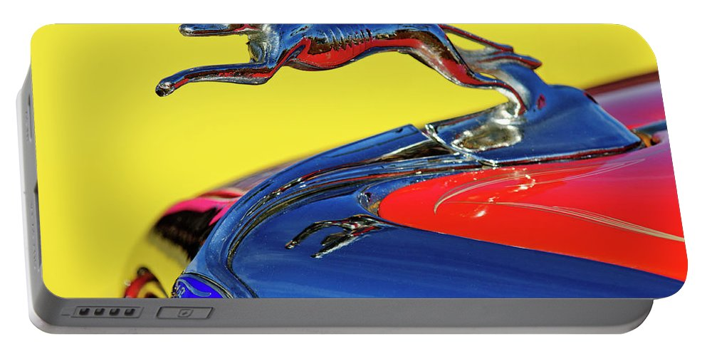 1934 Ford Portable Battery Charger featuring the photograph 1934 Ford Hood Ornament by Jill Reger