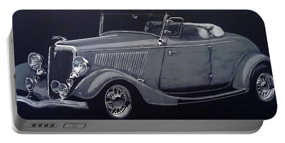 Ford Portable Battery Charger featuring the painting 1934 Ford Roadster by Richard Le Page