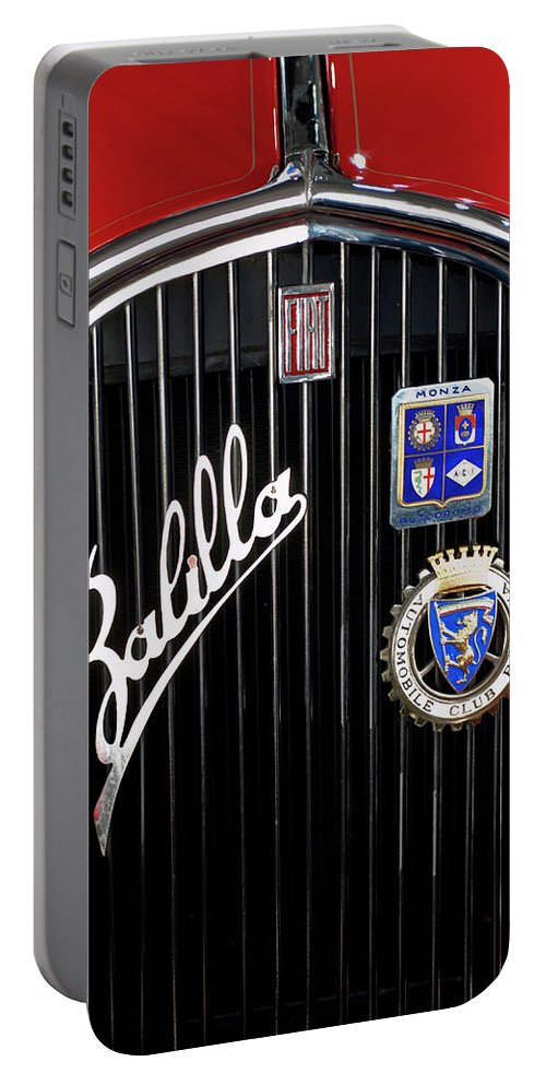 1935 Fiat Balilla Sport Spider 508 S coppa D'oro Corsa Mm Portable Battery Charger featuring the photograph 1935 Fiat Balilla Sport Spider Grille by Jill Reger