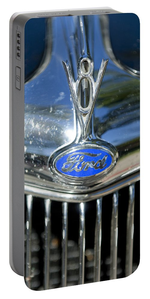 1935 Ford V8 Portable Battery Charger featuring the photograph 1935 Ford V8 Hood Ornament 2 by Jill Reger