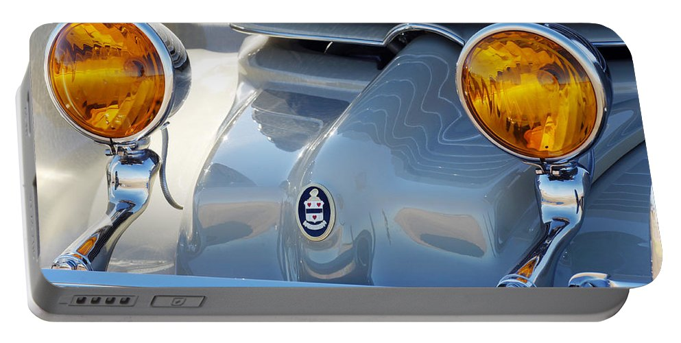 Car Portable Battery Charger featuring the photograph 1936 Cord Phaeton Headlights by Jill Reger