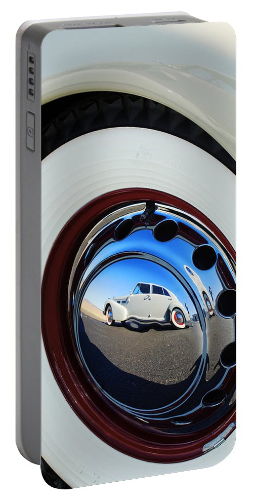 1940 Cadillac 60 Special Sedan Portable Battery Charger featuring the photograph 1936 Cord Phaeton Rim by Jill Reger
