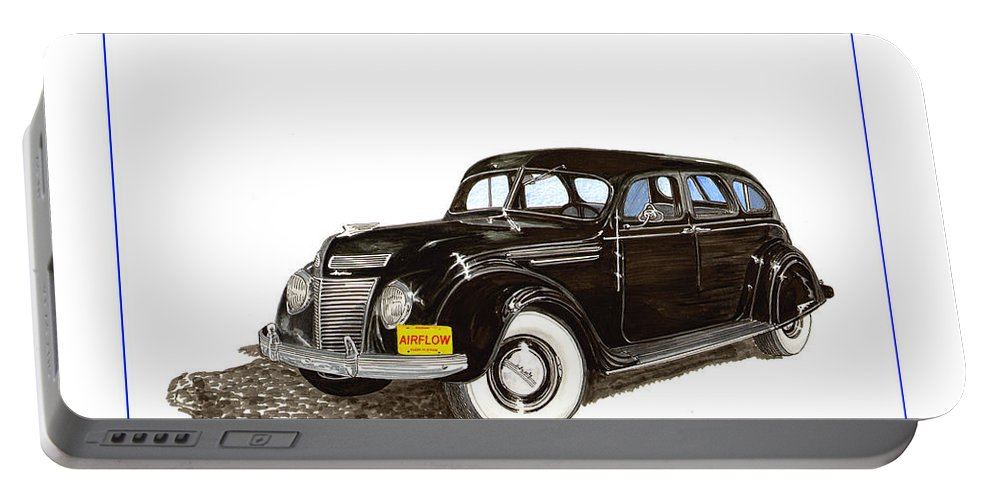 The Chrysler Airflow Portable Battery Charger featuring the painting 1937 Chrysler Airflow by Jack Pumphrey