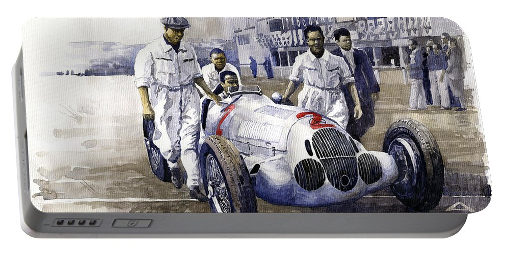 Watercolor Portable Battery Charger featuring the photograph 1937 Italian Gp Mercedes Benz W125 Rudolf Caracciola by Yuriy Shevchuk