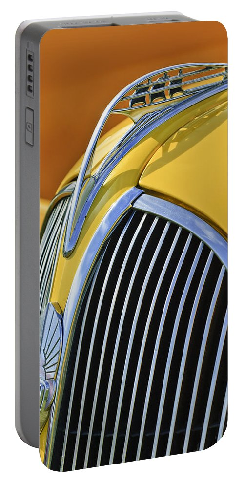 1937 Plymouth Portable Battery Charger featuring the photograph 1937 Plymouth Hood Ornament 2 by Jill Reger