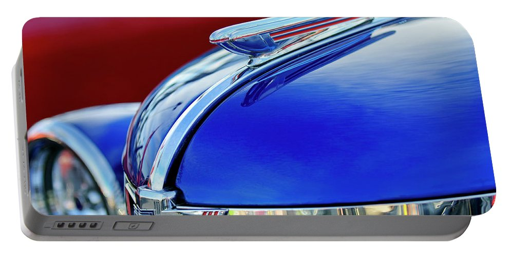 1938 Chevrolet Portable Battery Charger featuring the photograph 1938 Chevrolet Hood Ornament 2 by Jill Reger
