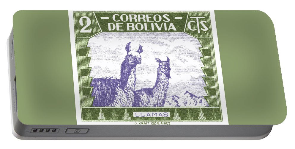 Bolivia Portable Battery Charger featuring the digital art 1939 Bolivia Llamas Postage Stamp by Retro Graphics